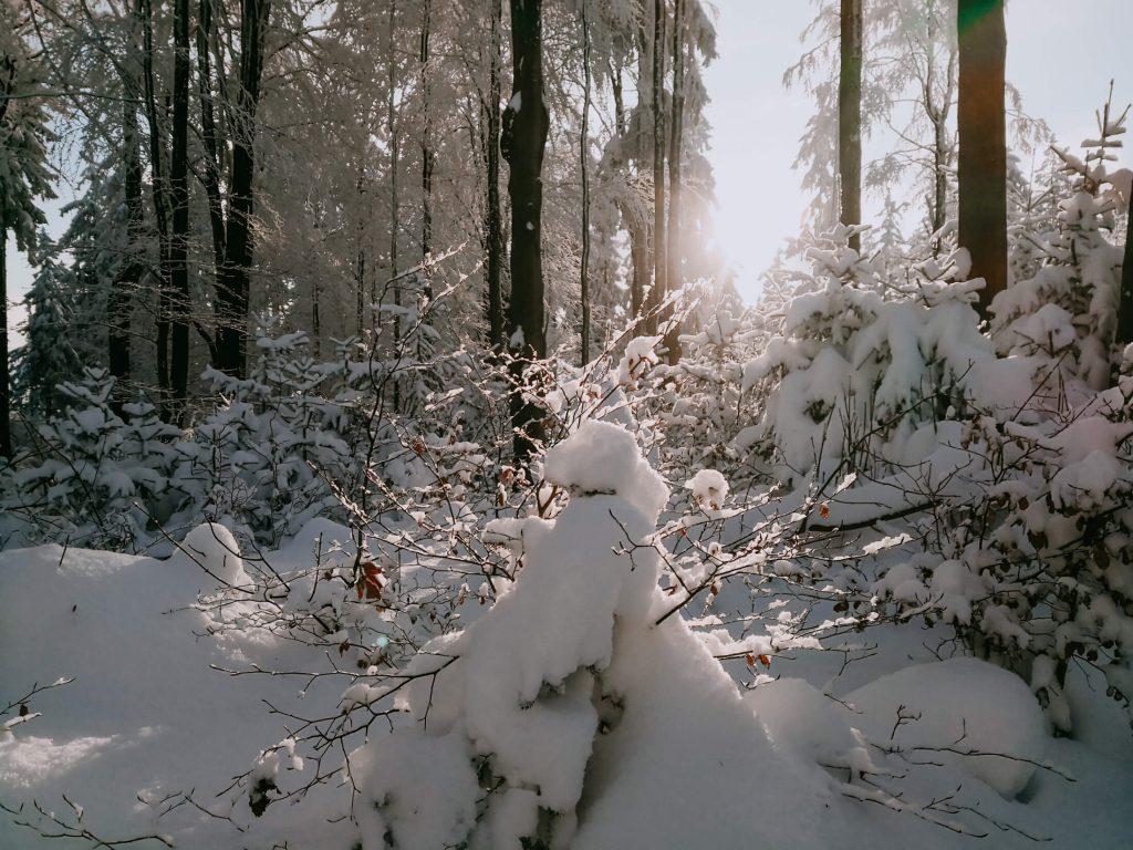 zachód słońca zimą w górach